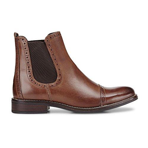 DRIEVHOLT Damen Damen Chelsea-Boots aus Leder, Stiefelette in Braun mit profilierter Lauf-Sohle braun Glattleder 39
