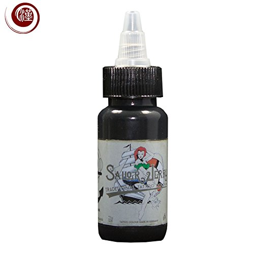 Sailor Jerry - Colore, Turbo Black (Turbo Nero), 30 ml. MADE IN GERMANY. Con certificato. Colore per tatuaggi, Tattoo Ink, distribuito da HAN-SEN GmbH.