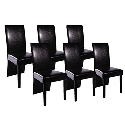 vidaXL Chaise de salle à manger 6 pcs Cuir artificiel Noir