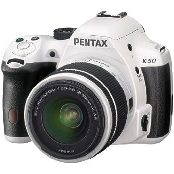 """Pentax K-50 Fotocamera e Obiettivo DA-L 18-55 WR, Sensore CMOS APS-C da 16,49 Megapixel, Display LCD da 3"""", Video Full HD, Bianco"""