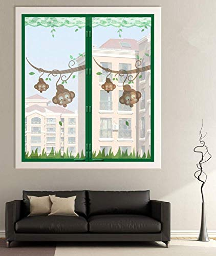 TYP Mall Standard Fliegengitter Für Fenster Schutz Vor Mücken/Fliegen Der Familie Verschlüsselte Gaze (magische Schnalle + Reißzwecke) Schlafzimmer Balkon Wohnzimmer Sommerlüftung,Green,120x150cm
