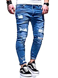 behype. Herren Destroyed Stretch Jeans-Hose Used 80-6376 Blau W32/L32