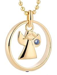 Fish Cadena Plata 925Sterling para niño y niña, anillo para bautizo con elementos Swarovski azul ángel chapado en oro 38cm