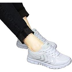Tefamore Zapatillas de deporte Zapatos deportivos de los planos atléticas ocasionales de la malla respirable del verano de las mujeres (38, Blanco)