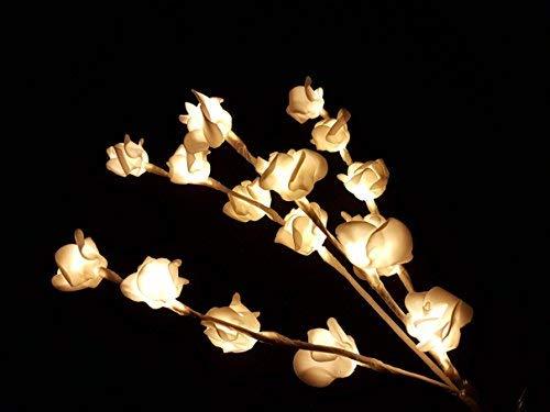 Guirlande lumineuse LED en forme de branches avec 16 roses - Blanc chaud - Décoration de Noël