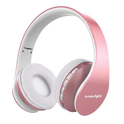 Bluetooth Kopfhörer, Esonstyle Bluetooth 4.0 Wireless Kopfhörer mit Mikrofon/ FM Radio/ TF SD Karte Slot/ 3,5mm Audio AUX Kompatibel mit Allen Gängigen Smartphones/Tablets und Andere(Rose Gold)