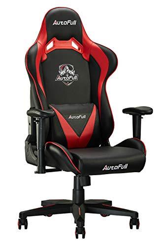 AutoFull Gaming Stuhl Computerstuhl Kunstleder Bürostuhl Höhenverstellung Neigungsverstellung Ergonomisches Design mit Kopfstütze und Ledenkissen Schwarz Rot