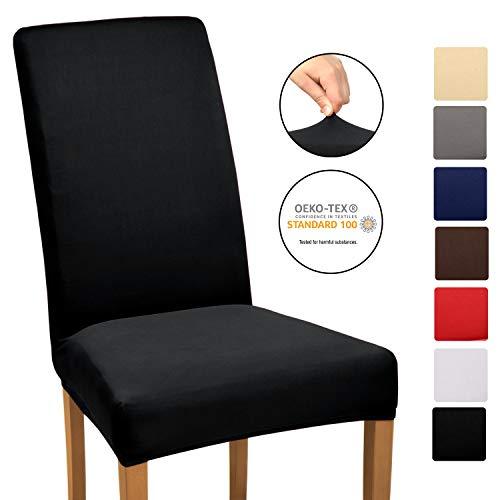 Beautissu Stuhlhusse Stretch Mia - 35-50cm Hussen für Stühle - Stuhlbezug Stretch - elastische Bi-Elastic Stuhlhussen Spannbezug - ÖKO-TEX & waschbar - Schwarz