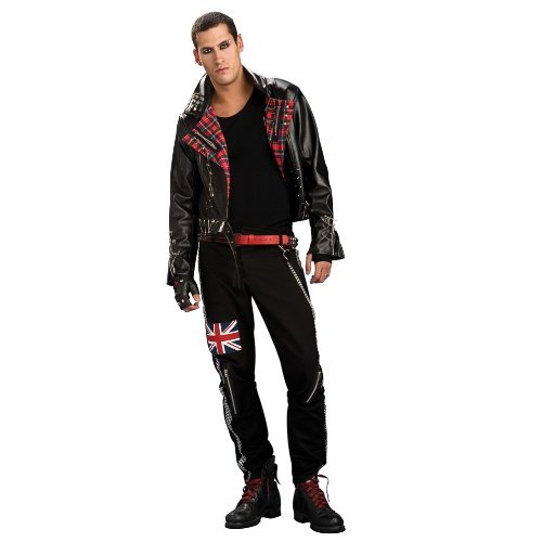 Punk Männlich Kostüm (Punk Rock Kostüm für Erwachsene Karneval Fasching)
