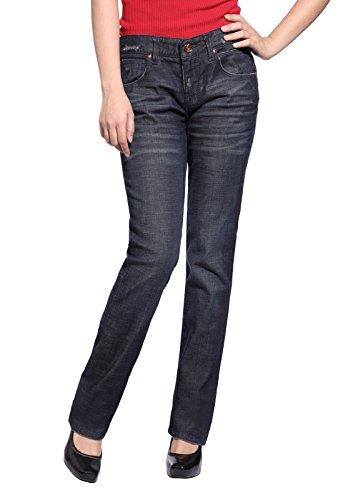 Christian Audigier Women Seductive Classic Straight Leg Jeans Worn Out Slim Blue Denim Pant