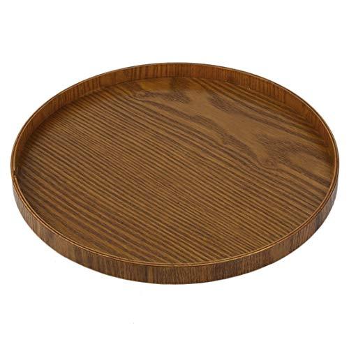 Original Geschirr aus Holz Tee Platte Handgefertigte Natur Serviertablett Round Tea Set Multifunktionaler Lagerung Lebensmittel 21CM / 30CM Yellow Tea Platte