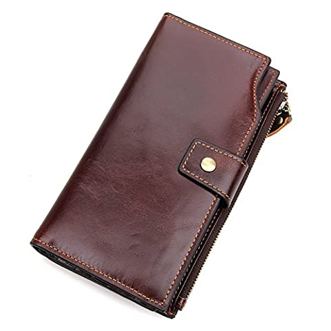 YAAGLE Vintage Genuine Leather Multi-function Coin Pocket Purse Wallet With