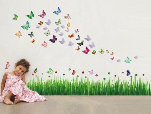 Walplus Wand Sticker Marienkäfer Gras Schmetterlinge & 3D Entfernbarer selbstklebend Wandkunst Aufkleber Vinyl Wohndeko DIY Wohnzimmer Schlafzimmer Büro Dekor Tapete Kinderzimmer Geschenk, Mehrfarbig