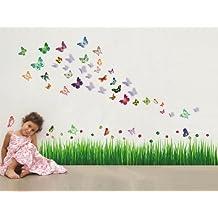 Walplus AY768/WS3013 - Pacchetto adesivi da parete, motivo: erba con coccinelle + farfalle 3D blu, colori misti