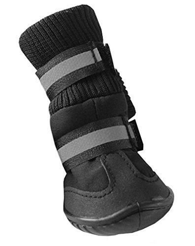 Hikong Wasserdicht 4 tlg. Hund Haustier Pet Pfotenschutz Schuhe Socken Hundeschuhe Winterstiefel Dog Shoes für Winter Schutz Größewahl 3 Farben (Leder Walker Comfort)