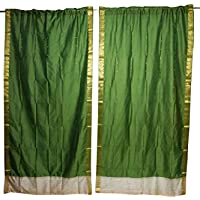 Mogul Interior Indian Sari Curtain Drape Panel Green Brocade Border Window Treatment Home Decor