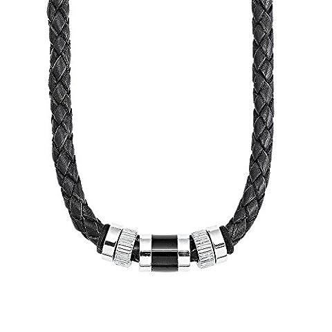 s.Oliver Herren-Kette Männerkette 45+3 cm Edelstahl Beads Leder geflochten schwarz
