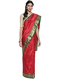 The Chennai Silks silk with blouse piece Saree (CCMYSS8816_ Red_ Free Size)