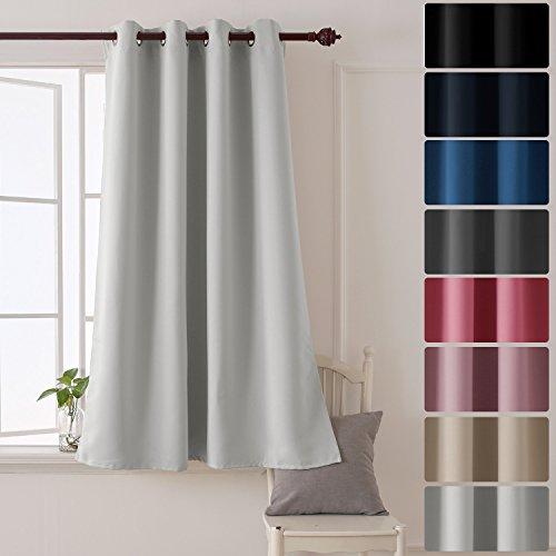 Deconovo tenda oscurante termica isolante con occhielli per la tua casa 100% poliestere 132x160 cm bianco grigiastro un pannello
