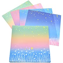 hongma 60pcs origamis faltbltter bastelpapier regenbogen sternen blume muster einseitig diy - Bastelpapier Muster