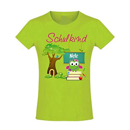 Mein Zwergenland T-Shirt tailliert Mädchen Schulanfang Schulkind 2019 Eule mit Baum, Apfel Gr. 6...