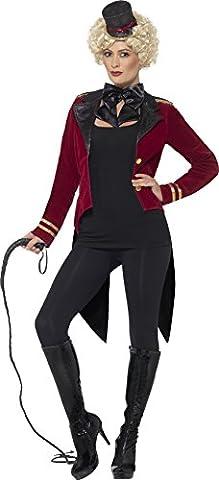 Smiffys Déguisement Femme, Monsieur Loyal, Avec veste, col et mini haut-de-forme, Taille 44-46, Couleur: Rouge, 24633