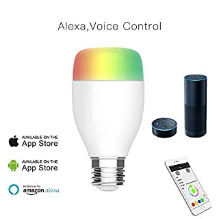 TKSTAR WiFi Lampe, E27 LED Dimmbar Lampe mit Fernbedienung (Funktioniert mit Amazon Alexa, Echo Alexa) mit Smartphone Works mit Amazon Alexa Wireless Timer Switch Multicolor Glühbirne WLE01