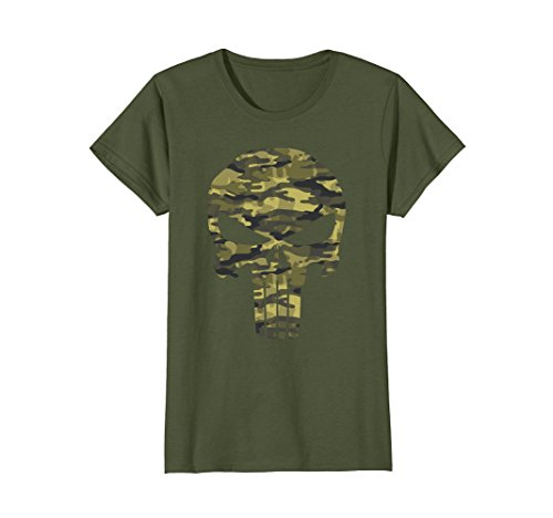 Women's Punisher Camo Skull Symbol Graphic T-Shirt XL Olive (Punisher Camo)