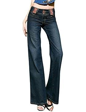 Mena Uk La cintura alta del bordado del tamaño de las mujeres más alta mira los pantalones vaqueros largos de...