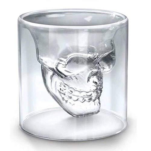 Roawon 4pcs/Set Skull Shot Glass Crystal Glasses Double Layer Transparent Skull Pirate Shotglasses Drink Cocktail Beer Cup Wine Glasses Drinking Ware Mugs,250ML