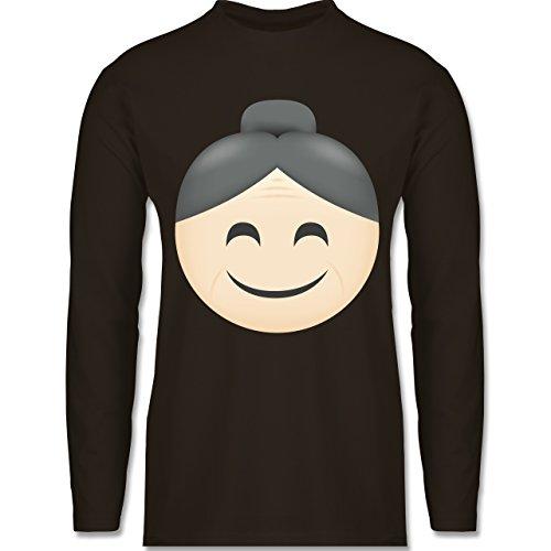 Shirtracer Comic Shirts - Oma Emoji - Herren Langarmshirt Braun