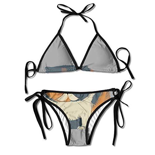 Funny Cat Bikini Women's Summer Swimwear Triangle Top Bikinis Swimsuit Sexy 2-Piece Set (Funny Cat Lady Kostüm)