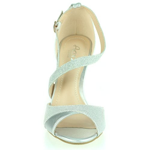 Frau Damen Schimmernd Offener Zeh Seitenriemen Hoher Absatz Stilettos Abend Party Hochzeit Abschlussball Braut Sandalen Schuhe Größe Silber