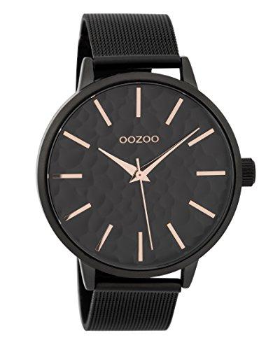 Oozoo Damenuhr mit Metallband 42 MM Black/Schwarz/Schwarz C9574