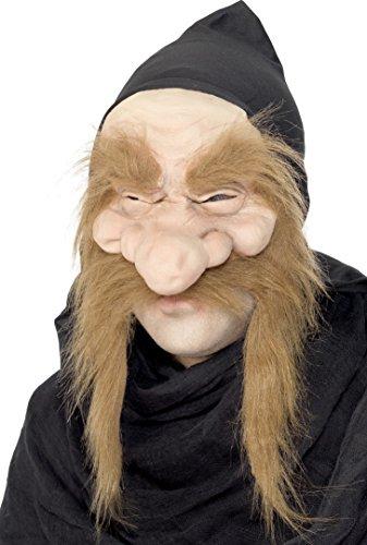 Smiffys, Herren Troll Maske, Halb Maske mit Kapuze und Haaren, Gold Digger Maske, One Size, 23817