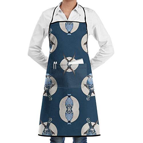 Lady Bird Kostüm - Drempad Premium Unisex Schürzen, Blue Bird Jay Kitchen Apron - Mens and Women Apron - Adjustable with Pockets