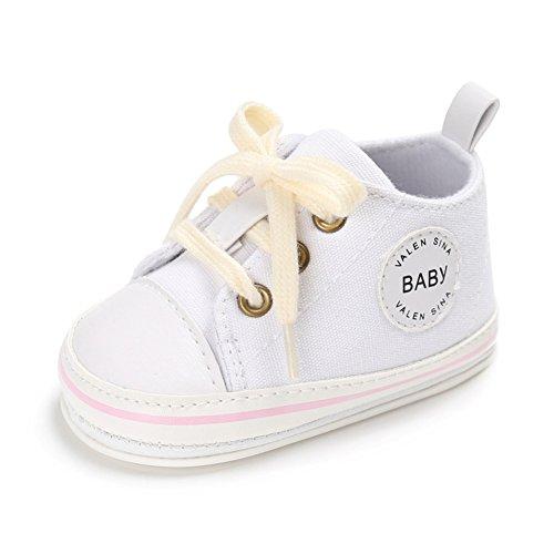 WYSBAOSHU Süße Baby-Leinwand-Turnschuh Anti Skid Weicher Netter Trainer Schuhe, Weiß-2, Gr.M/6-12 Monate (Manufacture size:2)