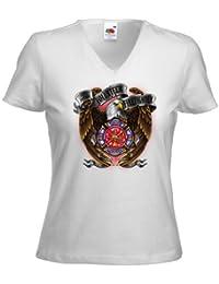 US T-Shirt Firefighter Freiwillige Feuerwehr Adler Feuerwehrmann 112