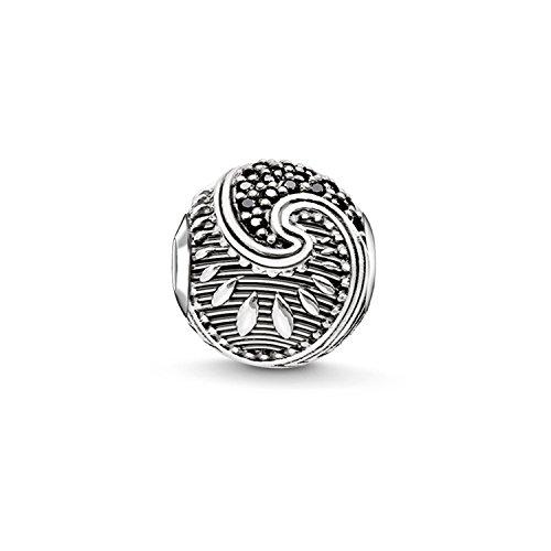 Thomas Sabo Damen-Bead Maori Karma Beads 925 Sterling Silber geschwärzt Zirkonia schwarz K0214-643-11