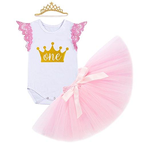 OwlFay Kleinkind Baby Mädchen 1. Erster Geburtstag Outfits Body Strampler + Tütü Rock + Krone Stirnband erstes Geburtstagsparty Kleid 3tlg Kleidung Set Fotoshooting Kostüm Geschenk 12-18 Monate (Kleinkinder Dress Kleidung Up Princess Für)