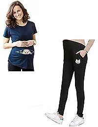 Bold N Elegant Combo of Blue Half Sleeve Cute Sneak Peek Child Printed Pregnancy Maternity T-Shirt and Black Maternitywear Pregnancy Belly Leggings with Adjustable Elastic Waist