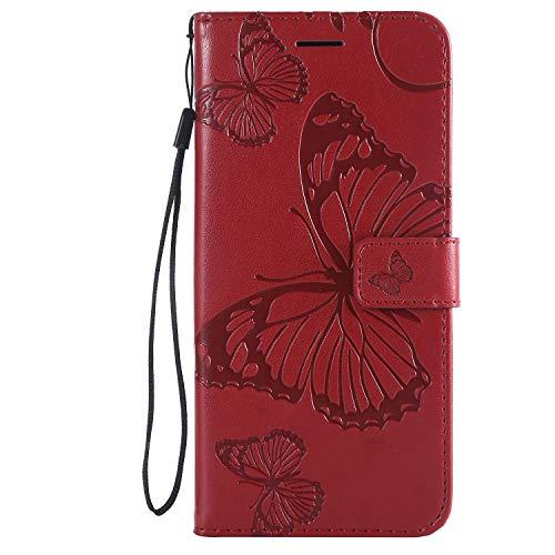 Lomogo Sony Xperia XZ3 Hülle Leder, Schutzhülle Brieftasche mit Kartenfach Klappbar Magnetverschluss Stoßfest Kratzfest Handyhülle Case für Sony Xperia XZ3 - LOKTU24007 Rot