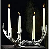 HomeZone® Antique Style Silver Ornamental Deer Stag Antler Taper Candle Holder Tea Light Holder Christmas Table Centre Piece Home Decoration Holds 4 Candles