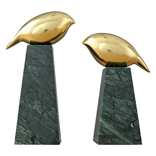 LPRWEC Gold Kreative Skulptur EIN Paar Vögel Messing Marmor Handgemachte Statue Home Wohnzimmer Weinschrank TV Schrank Veranda Büro Handwerk Kunst Ornamente Skulptur Durable Skulptur Geschenk