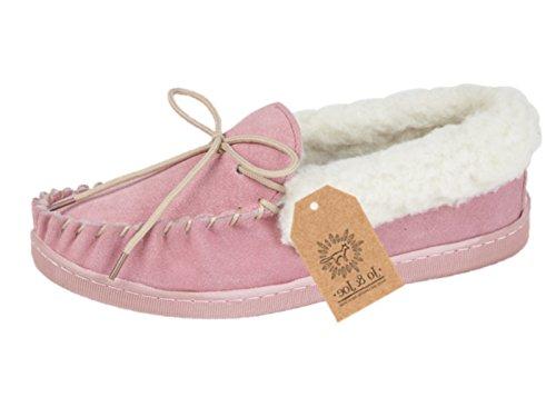 Mocassin en daim luxueux chers Chaussons doublure polaire chaud rose ou menthe pink