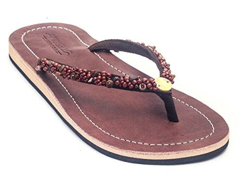 YZD Gestickte Schuhe, Sehnensohle, ethnischer Stil, weiblicher Flip Flop, Mode, bequem, Sandalen , green , 40