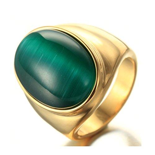 Daesar anello in acciaio inossidabile anelli con incisione anello per uomo oro ovale opal creato anello verde scuro anello taglia 15