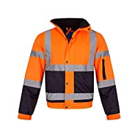 shelikes Hi Vis Viz Visibility Bomber Workwear Security Safety Fluorescent Hooded Padded Waterproof Work Wear Jacket Coat