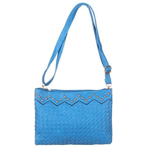 Damen Tasche, Kleine Nieten Deko Schultertasche, Kunstleder, TA-9979 Blau