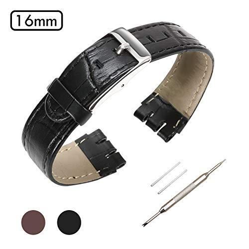 Uhrenarmband aus echtem Leder, 16 mm, für Muster, Zubehör mit Werkzeug, Kalbslederstreifen mit silberfarbener Schnalle, verschiedene Farben/Breite, schwarz, 16mm (Breites Schwarzes Uhrenarmband)